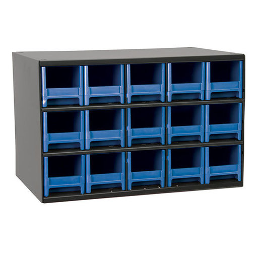 View a Larger Image of Akro-Mils 15 Drawer Steel Storage Cabinet with Blue Drawers