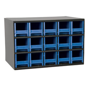 Akro-Mils 15 Drawer Steel Storage Cabinet with Blue Drawers