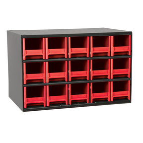 Akro-Mils 15 Drawer Steel Storage Cabinet with Red Drawers