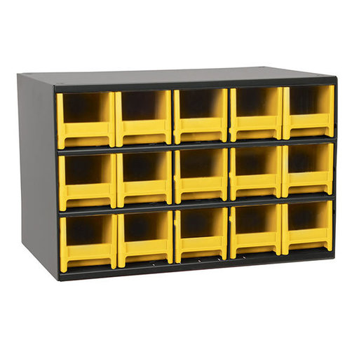 View a Larger Image of Akro-Mils 15 Drawer Steel Storage Cabinet with Yellow Drawers