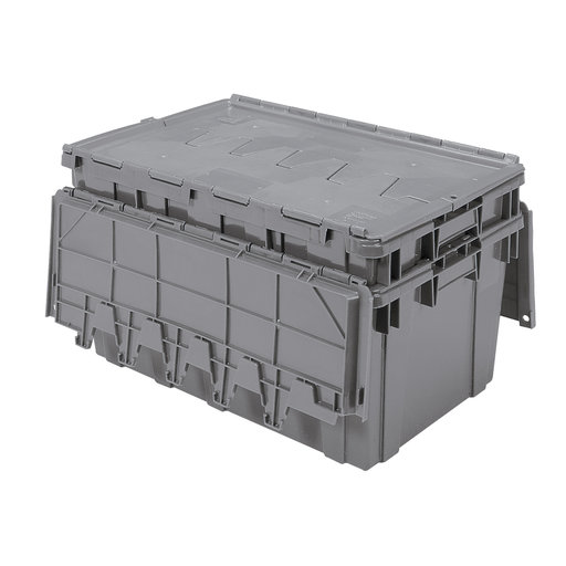 View a Larger Image of Akro-Mils 16.5 Gallon Attached Lid Storage Container - Gray