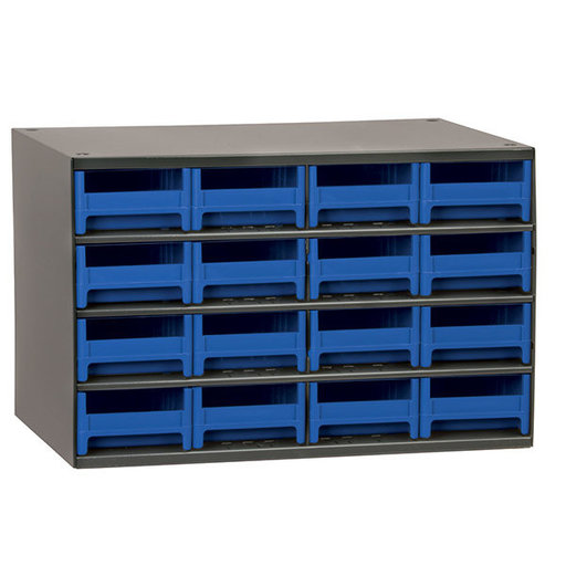 View a Larger Image of Akro-Mils 16 Drawer Steel Storage Cabinet with Blue Drawers