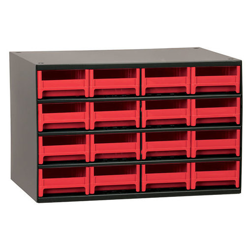 View a Larger Image of Akro-Mils 16 Drawer Steel Storage Cabinet with Red Drawers
