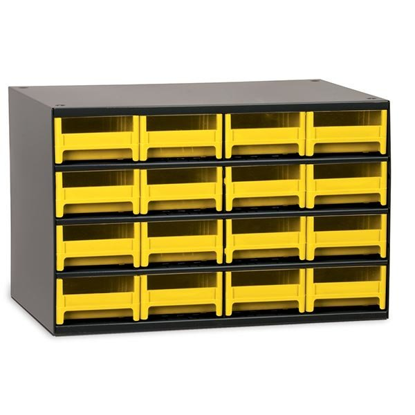 Akro Mils 16 Drawer Steel Storage Cabinet With Yellow Drawers
