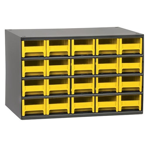 View a Larger Image of Akro-Mils 20 Drawer Steel Storage Cabinet with Yellow Drawers