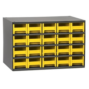 Akro-Mils 20 Drawer Steel Storage Cabinet with Yellow Drawers
