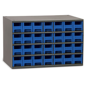 Akro-Mils 28 Drawer Steel Storage Cabinet with Blue Drawers