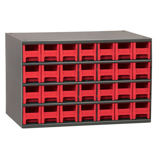 View a Larger Image of Akro-Mils 28 Drawer Steel Storage Cabinet with Red Drawers