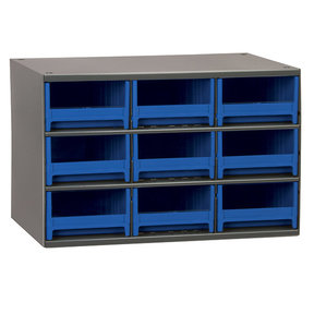Akro-Mils 9 Drawer Steel Storage Cabinet with Blue Drawers
