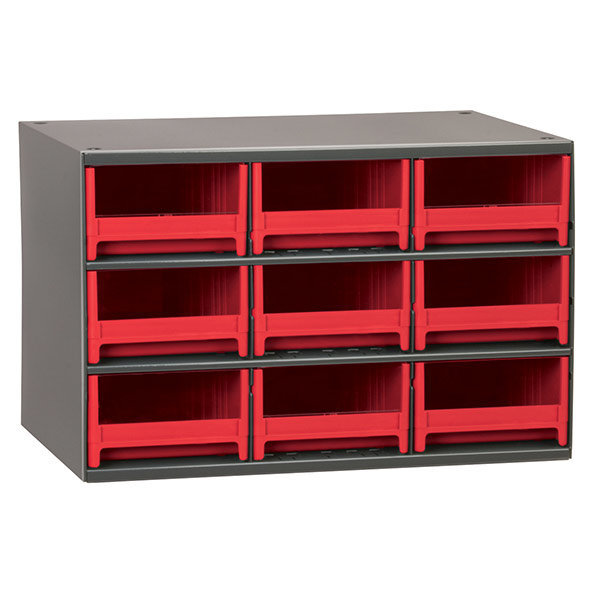 View A Larger Image Of Akro Mils 9 Drawer Steel Storage Cabinet With Red Drawers