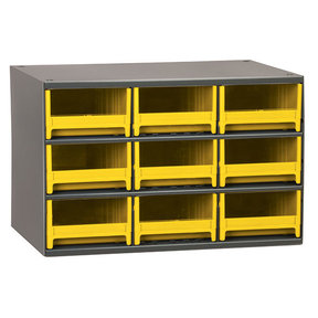 Akro-Mils 9 Drawer Steel Storage Cabinet with Yellow Drawers