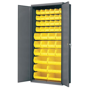 "Akro-Mils Cabinet with Flush Doors and Assorted Bins, 36""W x 18""D x 78""H, Model AC3618Y"