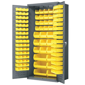 "Akro-Mils Cabinet with Louvered Panels and AkroBins, 36""W x 24""D x 78""H, Model AC3624Y"