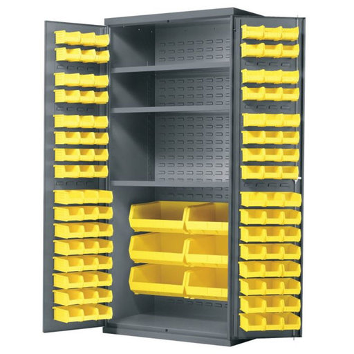 "View a Larger Image of Akro-Mils Cabinet with Louvered Panels, Shelves, and AkroBins, 36""W x 24""D x 78""H, Model AC3624Y3AS"