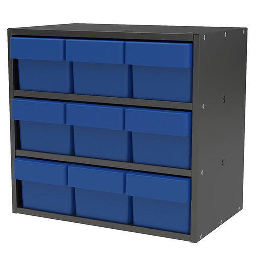 View a Larger Image of Akro-Mils Charcoal Gray Modular Cabinet with Blue Model 31162 AkroDrawers
