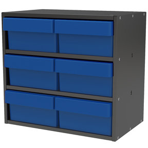 Akro-Mils Charcoal Gray Modular Cabinet with Blue Model 31182 AkroDrawers
