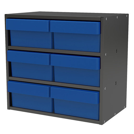 View a Larger Image of Akro-Mils Charcoal Gray Modular Cabinet with Blue Model 31182 AkroDrawers