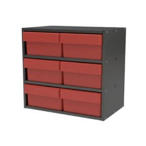 Akro-Mils Charcoal Gray Modular Cabinet with Red Model 31182 AkroDrawers