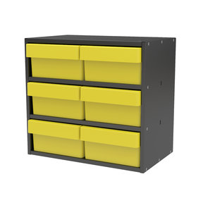 Akro-Mils Charcoal Gray Modular Cabinet with Yellow Model 31182 AkroDrawers