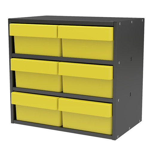View a Larger Image of Akro-Mils Charcoal Gray Modular Cabinet with Yellow Model 31182 AkroDrawers