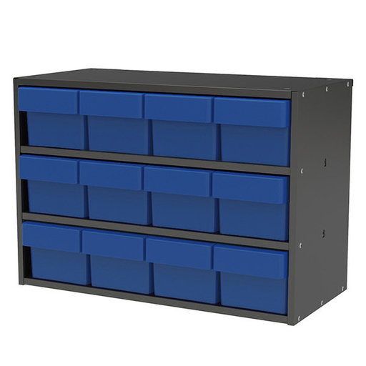 View a Larger Image of Akro-Mils Charcoal Grey Modular Cabinet with Blue Model 31162 AkroDrawers