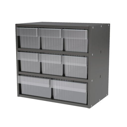 View a Larger Image of Akro-Mils Charcoal Grey Modular Cabinet with Both Model 31162 and 31182 Clear AkroDrawers