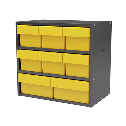 View a Larger Image of Akro-Mils Charcoal Grey Modular Cabinet with Both Model 31162 and 31182 Yellow AkroDrawers