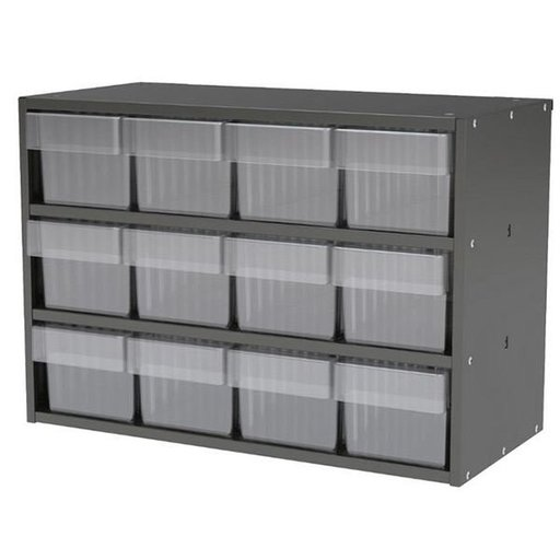 View a Larger Image of Akro-Mils Charcoal Grey Modular Cabinet with Red Model 31162 AkroDrawers