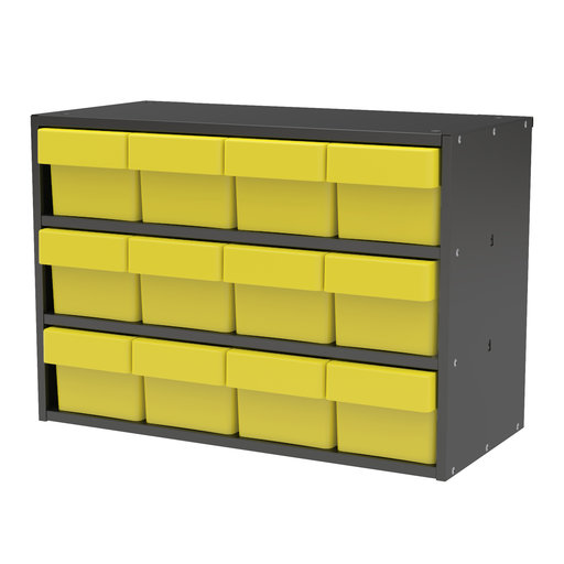 View a Larger Image of Akro-Mils Charcoal Grey Modular Cabinet with Yellow Model 31162 AkroDrawers