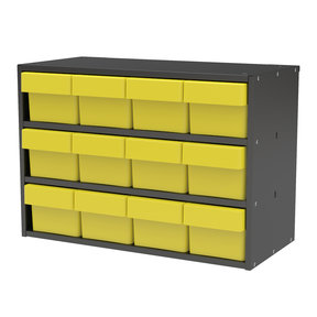 Akro-Mils Charcoal Grey Modular Cabinet with Yellow Model 31162 AkroDrawers