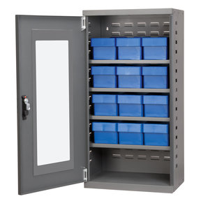 Charcoal Mini-Cabinet with 12 Blue Model 31162 AkroDrawers