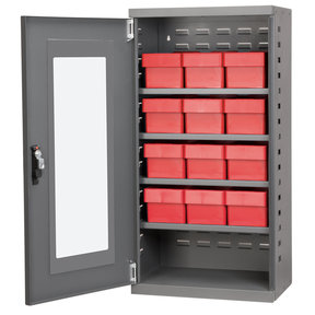 Charcoal Mini-Cabinet with 12 Red Model 31162 AkroDrawers