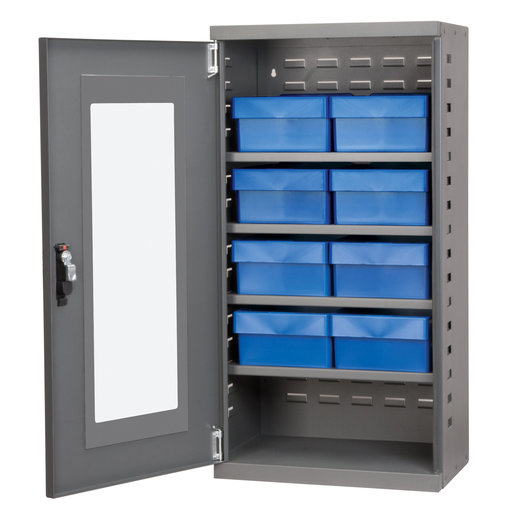 View a Larger Image of Charcoal Mini-Cabinet with 8 Blue Model 31182 AkroDrawers