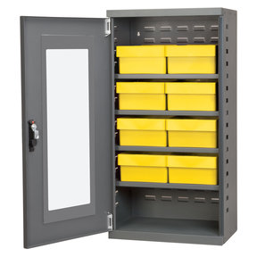 Charcoal Mini-Cabinet with 8 Yellow Model 31182 AkroDrawers