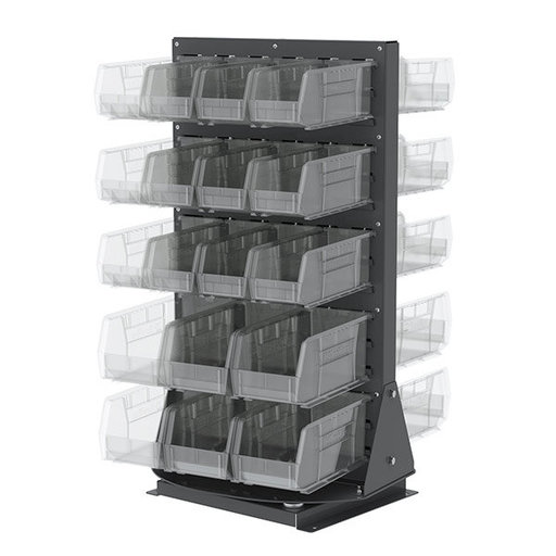 View a Larger Image of Akro-Mils Double-Sided Benchtop Spinner Rack with 36 Clear AkroBins