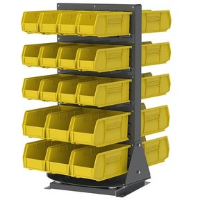 Akro-Mils Double-Sided Benchtop Spinner Rack with 36 Yellow AkroBins