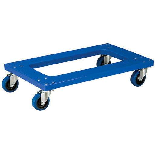 "View a Larger Image of Akro-Mils Flush Poly Dolly, Blue, w/ 4"" Blue Elastic Casters"