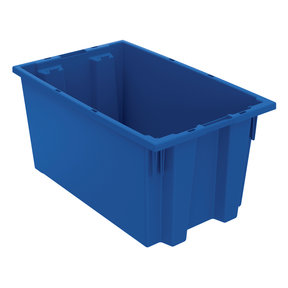 "Akro-Mils Nest and Stack Tote, 18""L x 11""W 9""H, Model 35185 Blue, Set of Six"