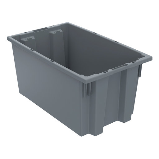 "View a Larger Image of Akro-Mils Nest and Stack Tote, 18""L x 11""W 9""H, Model 35185 Gray, Set of Six"