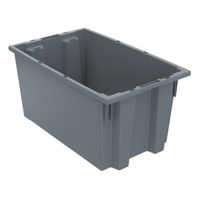 "Akro-Mils Nest and Stack Tote, 18""L x 11""W 9""H, Model 35185 Gray, Set of Six"