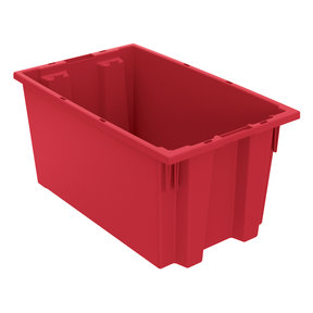 "Akro-Mils Nest and Stack Tote, 18""L x 11""W 9""H, Model 35185 Red, Set of Six"