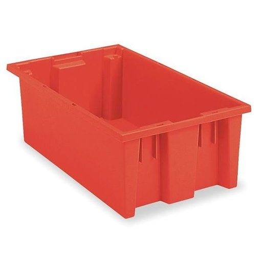"View a Larger Image of Akro-Mils Nest and Stack Tote, 18""L x 11""W x 6""H, Model 35180 Red, Set of Six"