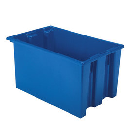 """Akro-Mils Nest and Stack Tote, 23.5""""L x 15.5""""W x 12""""H, Model 35240 Blue, Set of Three"""