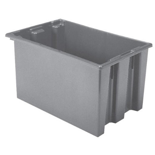 "View a Larger Image of Akro-Mils Nest and Stack Tote, 23.5""L x 15.5""W x 12""H, Model 35240 Gray, Set of Three"