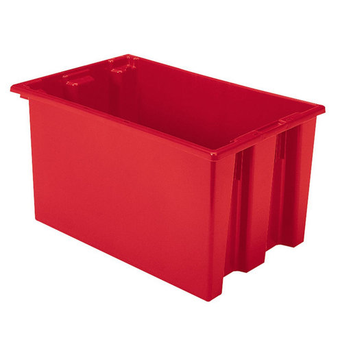 "View a Larger Image of Akro-Mils Nest and Stack Tote, 23.5""L x 15.5""W x 12""H, Model 35240 Red, Set of Three"