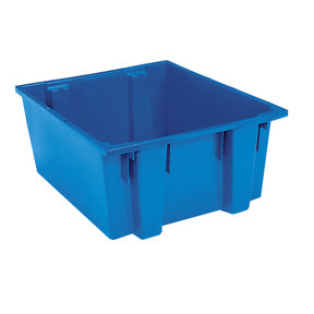 """Akro-Mils Nest and Stack Tote, 23.5""""L x 19.5""""W x 10""""H, Model 35225 Blue, Set of Three"""