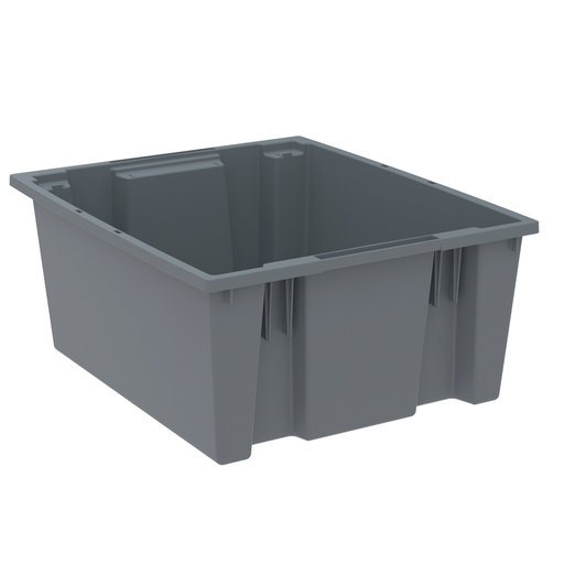 "View a Larger Image of Akro-Mils Nest and Stack Tote, 23.5""L x 19.5""W x 10""H, Model 35225 Gray, Set of Three"