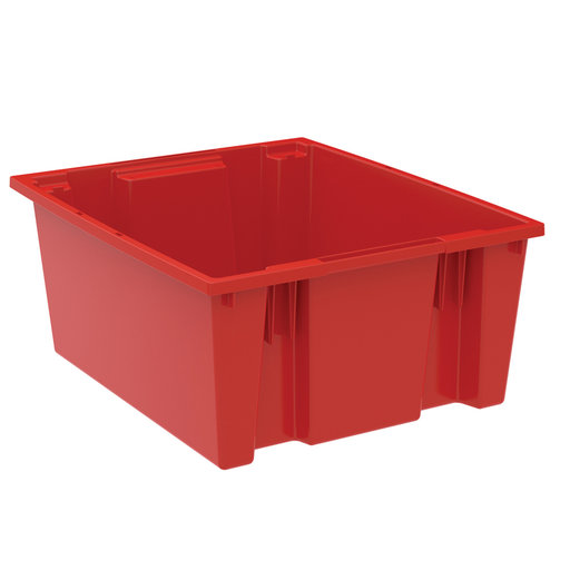 "View a Larger Image of Akro-Mils Nest and Stack Tote, 23.5""L x 19.5""W x 10""H, Model 35225 Red, Set of Three"