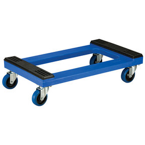 """Akro-Mils Padded Poly Dolly, Blue, w/ 4"""" Blue Elastic Casters"""