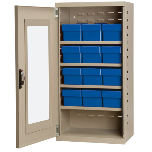 View a Larger Image of Putty Colored Mini-Cabinet with 12 Blue Model 31162 AkroDrawers